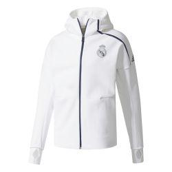 Veste Hood Real Madrid blanche à Capuche 2016 - 2017 vue de face