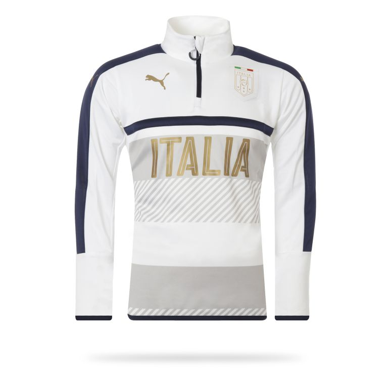 Sweat Training Italie 1/4 zippé blanc 2016