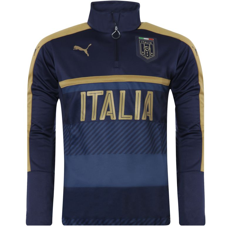 Sweat Training Italie 1/4 zippé bleu 2016
