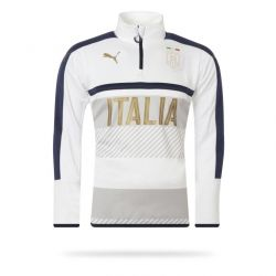 Sweat junior Training Italie 1/4 zippé blanc 2016