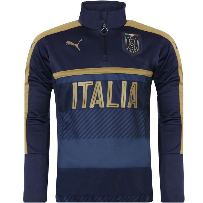 Sweat junior Training Italie 1/4 zippé bleu 2016