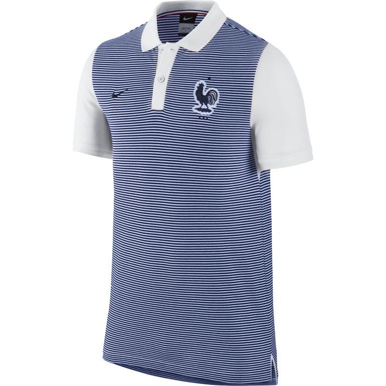 Polo junior Equipe de France bleu manches blanches 2016
