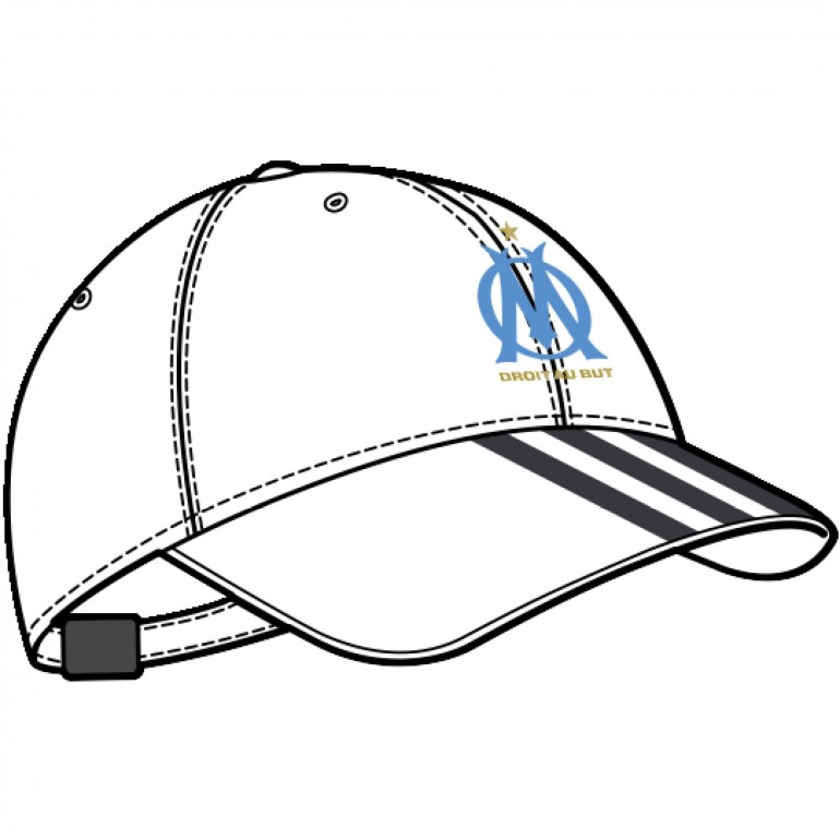 Casquette OM blanche 3 bandes