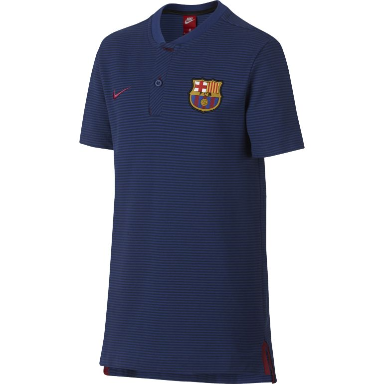 Polo junior FC Barcelone authentique bleu 2017/18