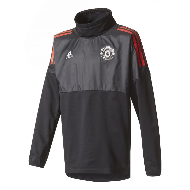 Sweat junior Manchester United Hybrid Top noir rouge 2017/18