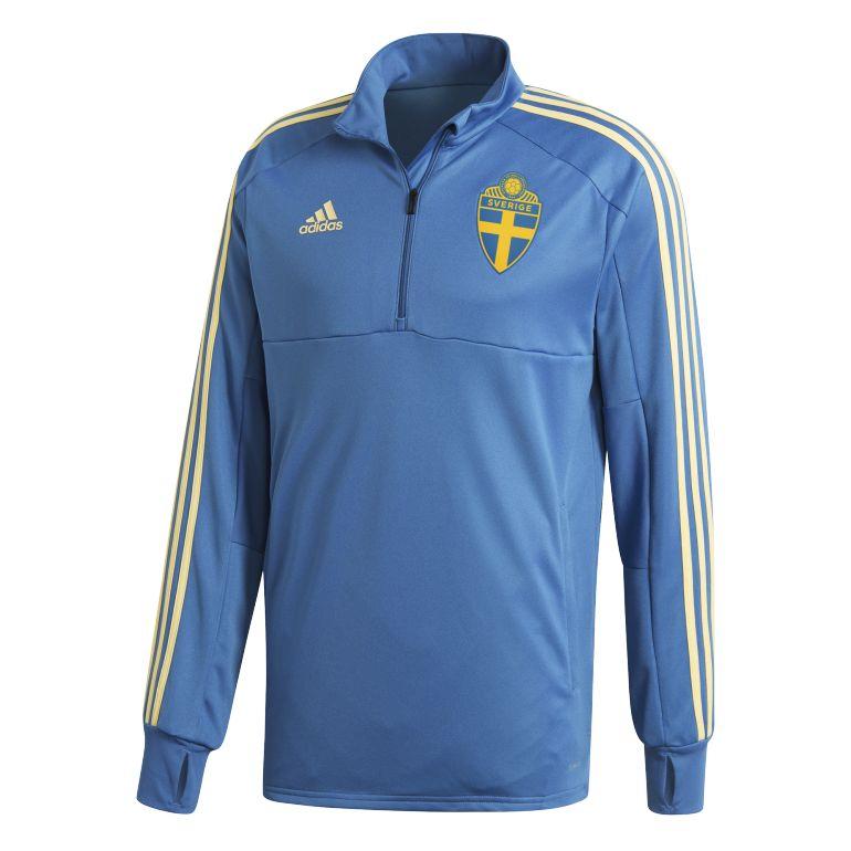 Sweat zippé entraînement Suède bleu ciel 2018