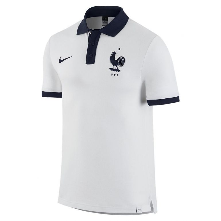 offer discounts look for pretty nice Polo Equipe de France blanc col bleu 2016