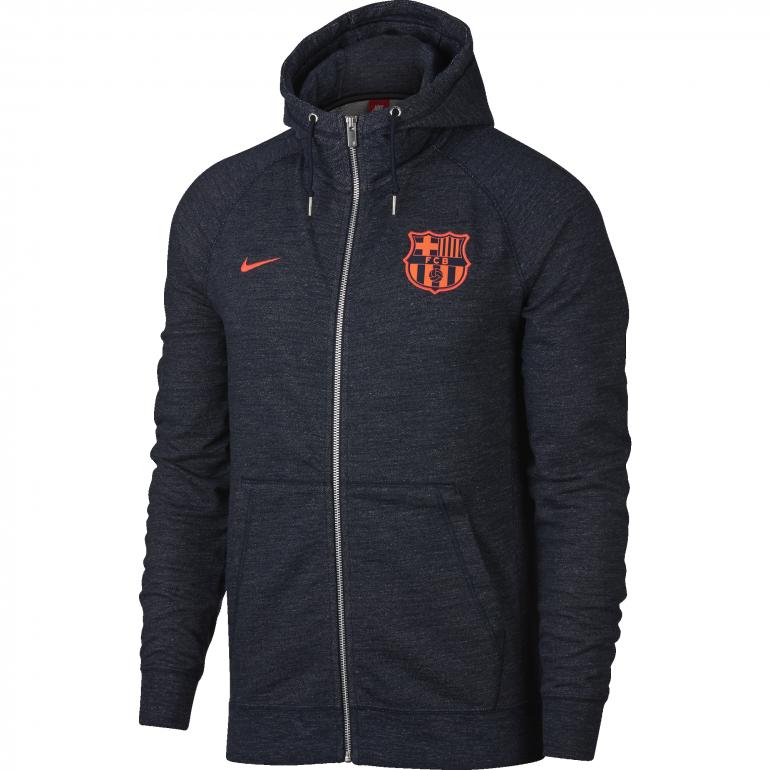 Veste à capuche FC Barcelone molleton bleu foncé 2017/18