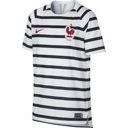 Maillot entraînement junior Equipe de France marinière blanc 2018