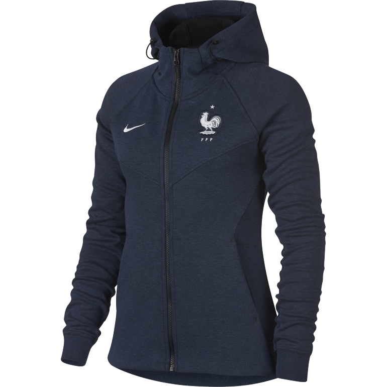 veste capuche femme equipe de france tech fleece bleu 2018 sur. Black Bedroom Furniture Sets. Home Design Ideas