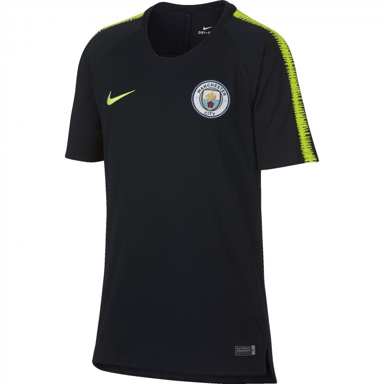 Maillot entraînement junior Manchester City noir jaune 2018/19