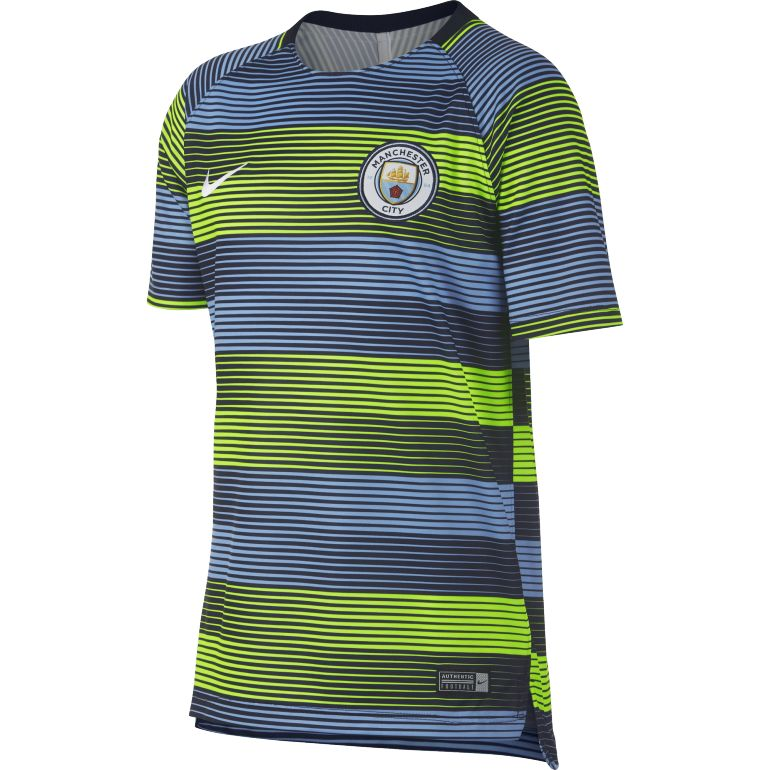 Maillot entraînement junior Manchester City bleu jaune 2018/19