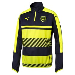 Sweat Training Arsenal 1/4 zippée jaune et bleu 2016 - 2017