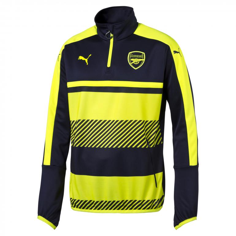 Sweat Training Arsenal 1/4 zippée jaune et bleu 2016 - 2017
