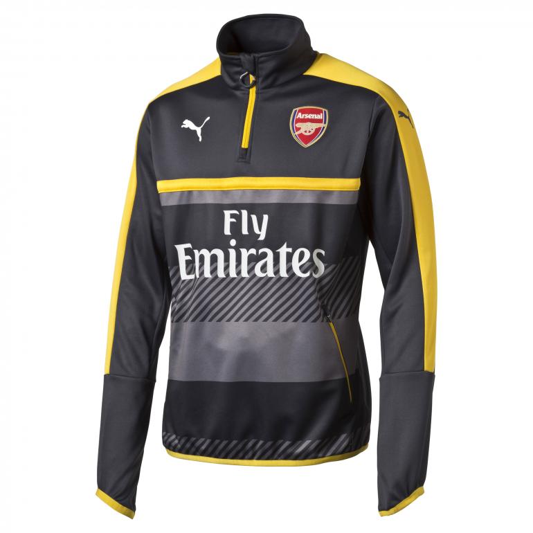Sweat Training Arsenal 1/4 zippée noir et jaune 2016 - 2017