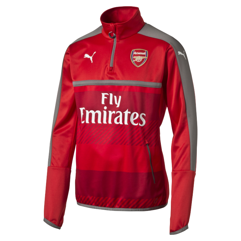 Sweat Training Arsenal 1/4 zippée rouge 2016 - 2017