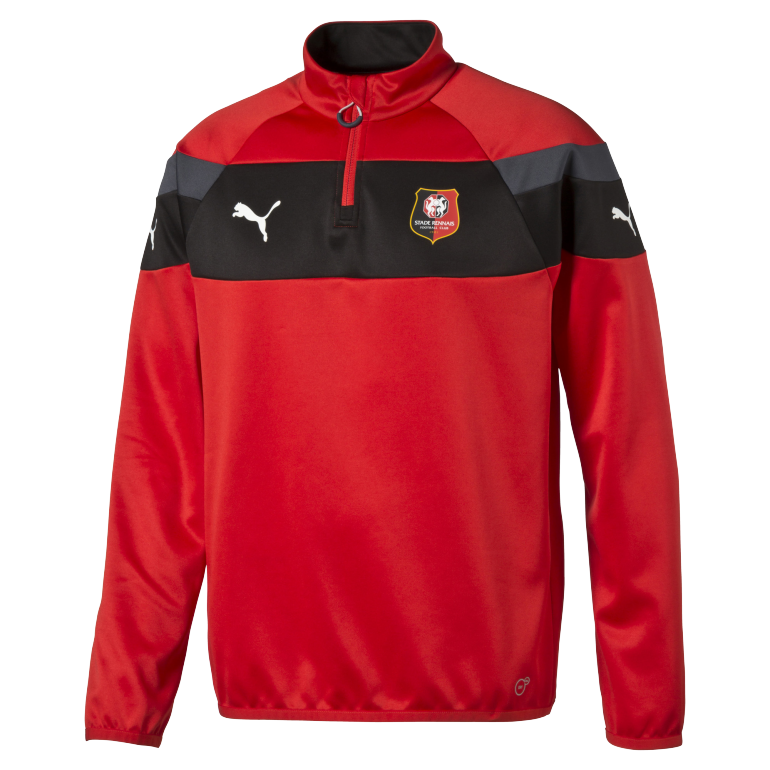 Sweat training Stade Rennais 1/4 Zip rouge et noir 2016 - 2017