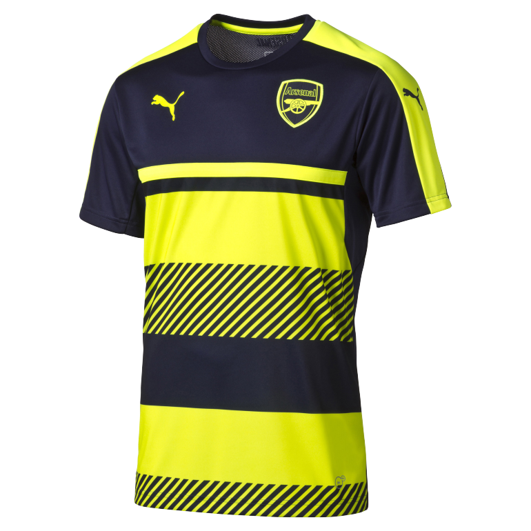 Maillot entraînement Arsenal jaune fluo et bleu 2016 - 2017