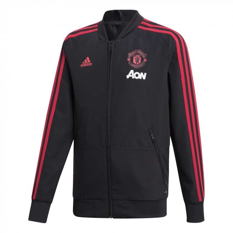 Veste survêtement junior Manchester United noir 2018/19