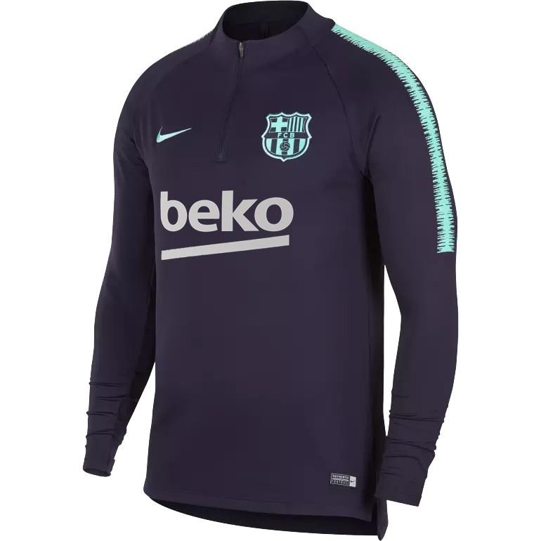Sweat zippé FC Barcelone noir vert 2018/19