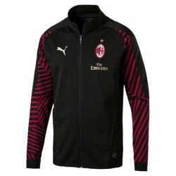 Veste survêtement Milan AC noir rayé rouge 2018/19