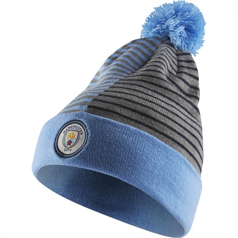 Bonnet Manchester City avec pompon bleu 2018/19