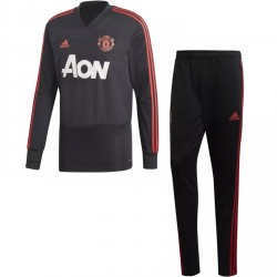 Ensemble survêtement sweat Manchester United noir rouge 2018/19