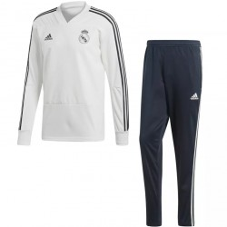 Ensemble survêtement sweat Real Madrid blanc noir 2018/19