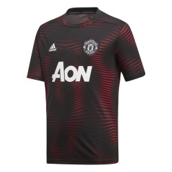 Maillot avant match junior Manchester United noir rouge 2018/19