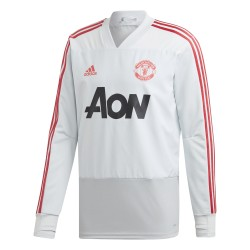Sweat entraînement Manchester United blanc rouge 2018/19