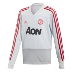 Sweat entraînement junior Manchester United blanc rouge 2018/19