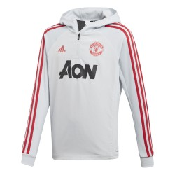 Sweat zippé à capuche junior Manchester United blanc rouge 2018/19