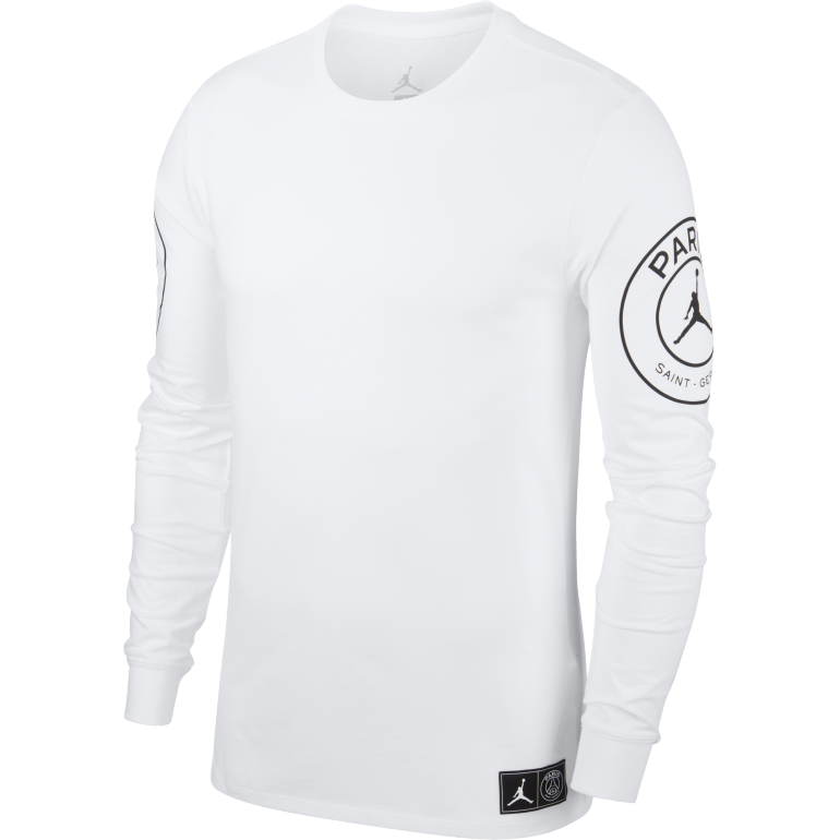 cheap for discount huge selection of reasonable price T-shirt manches longues PSG Jordan blanc 2018/19