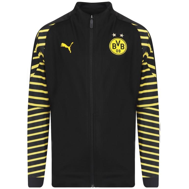 Veste survêtement junior Dortmund noir rayé jaune 2018/19