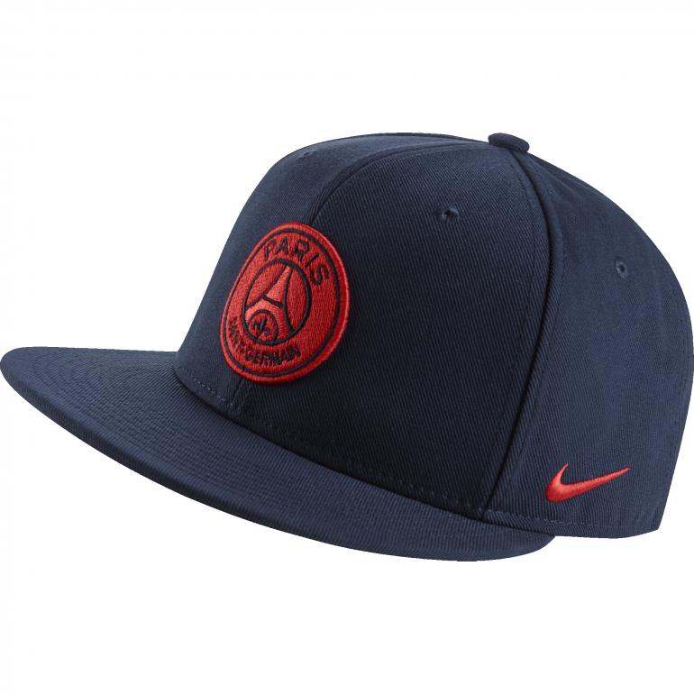 Casquette PSG visière plate bleue logo rouge
