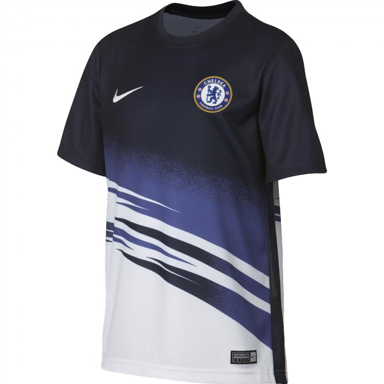 Maillot avant match junior Chelsea blanc bleu 2019/20