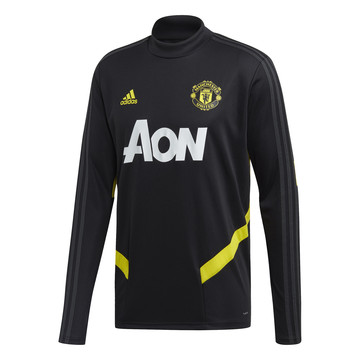 Sweat entraînement Manchester United noir jaune 2019/20