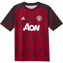 Maillot avant match junior Manchester United graphic rouge noir 2019/20