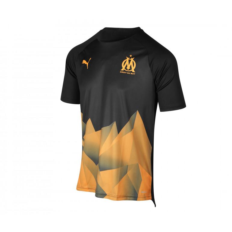 Maillot entraînement junior OM Stadium noir orange 2019/20
