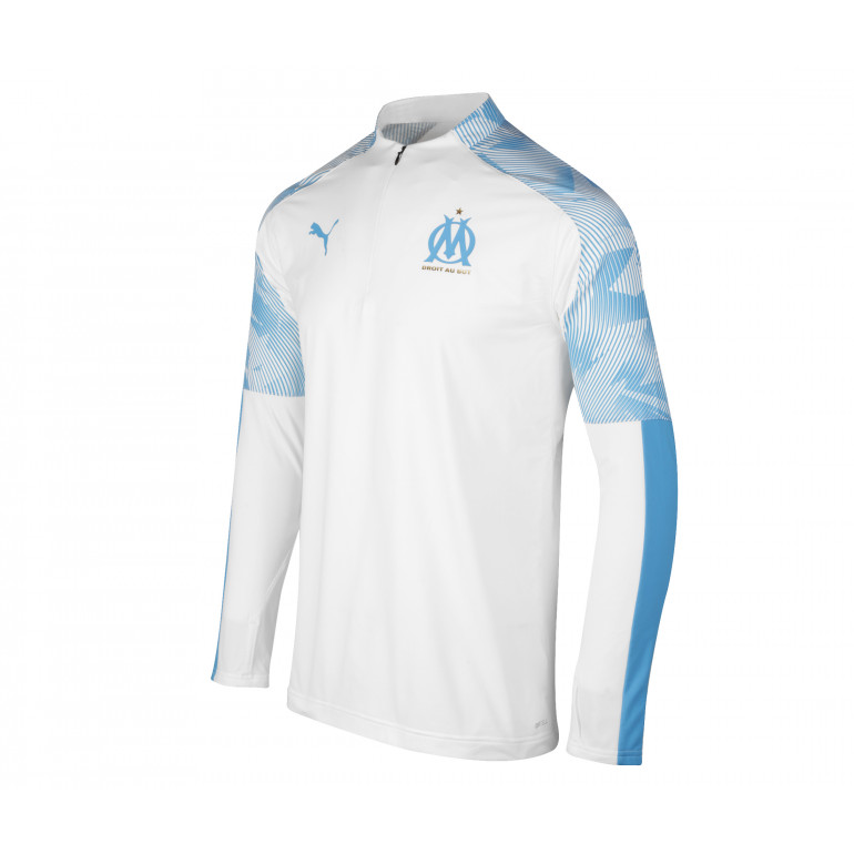 Sweat zippé OM blanc bleu 2019/20