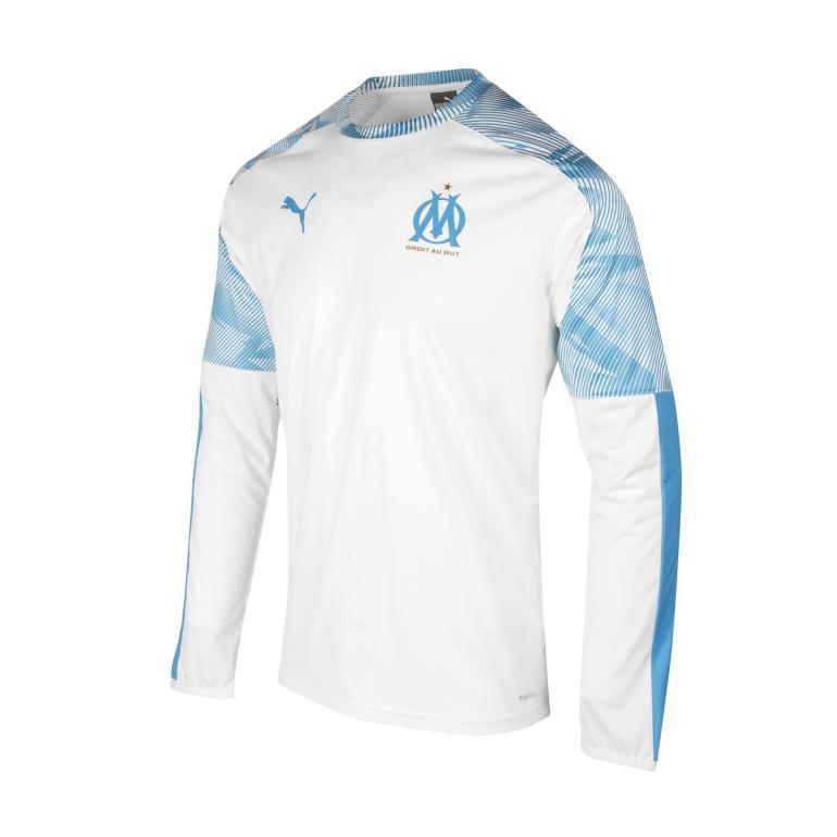 Sweat entraînement OM blanc bleu 2019/20