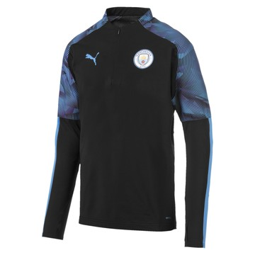 Sweat zippé Manchester City noir bleu 2019/20