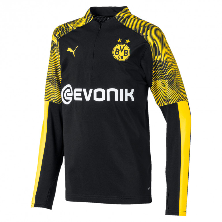 Sweat zippé junior Dortmund noir jaune 2019/20