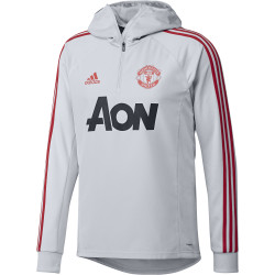 Sweat zippé capuche Manchester United gris rouge 2019/20