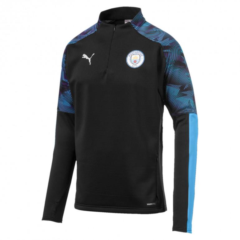 Sweat zippé Manchester City Fleece noir bleu 2019/20