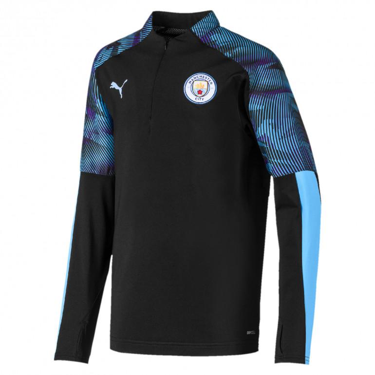 Sweat zippé junior Manchester City bleu noir 2019/20