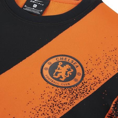 Maillot avant match junior manches longues Chelsea noir orange 2019/20