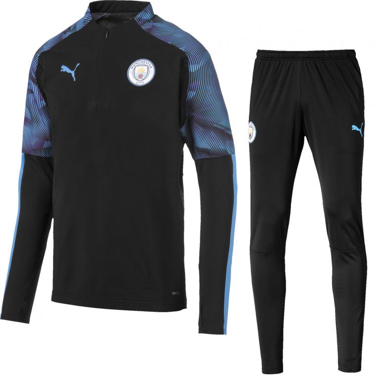 Ensemble survêtement Manchester City noir bleu 2019/20
