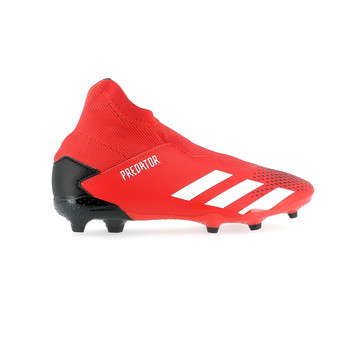 Predator 20.3 junior LaceLess FG noir rouge