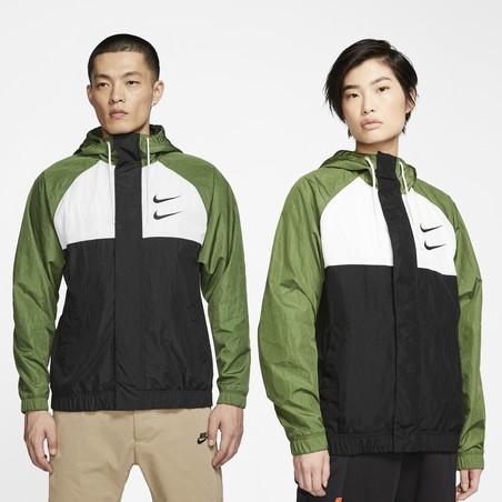 Sweat zippé Nike Air Woven vert noir